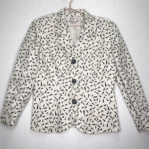 Vintage Silk Blazer Geometric Black and White 6